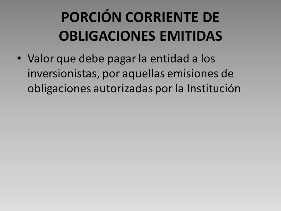 PORCIÓN CORRIENTE DE OBLIGACIONES EMITIDAS