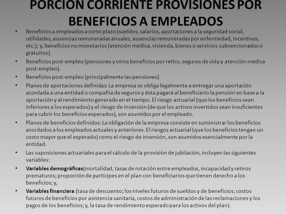 PORCION CORRIENTE PROVISIONES POR BENEFICIOS A EMPLEADOS
