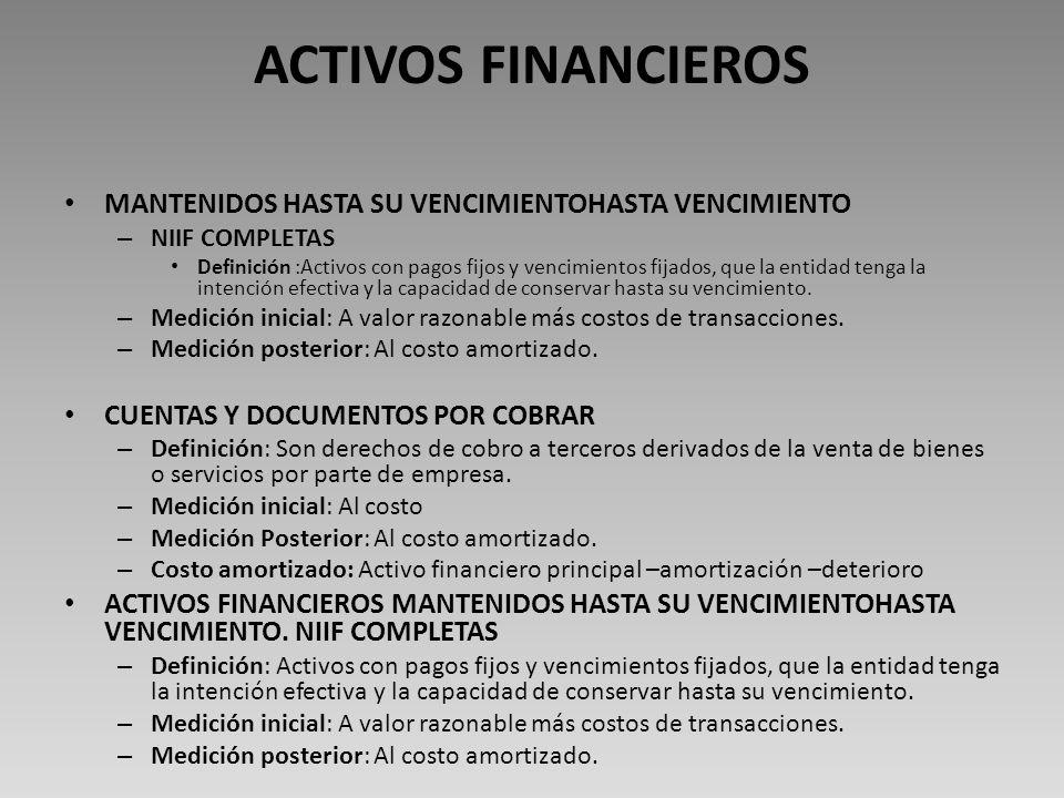 ACTIVOS FINANCIEROS MANTENIDOS HASTA SU VENCIMIENTOHASTA VENCIMIENTO