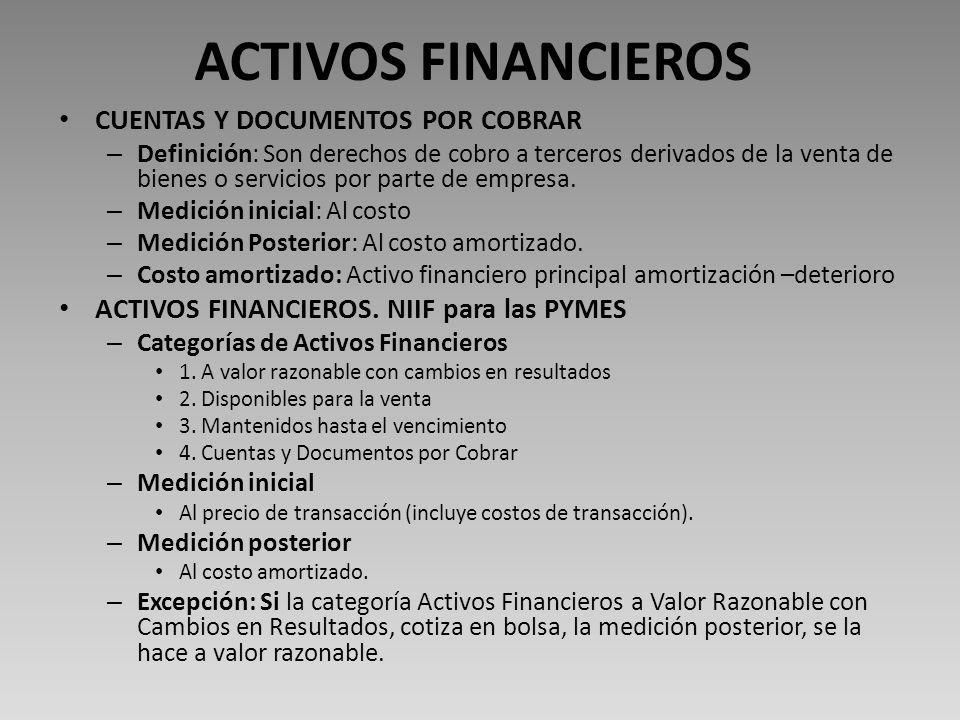 ACTIVOS FINANCIEROS CUENTAS Y DOCUMENTOS POR COBRAR