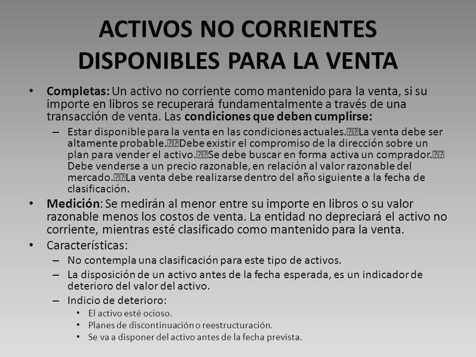 ACTIVOS NO CORRIENTES DISPONIBLES PARA LA VENTA