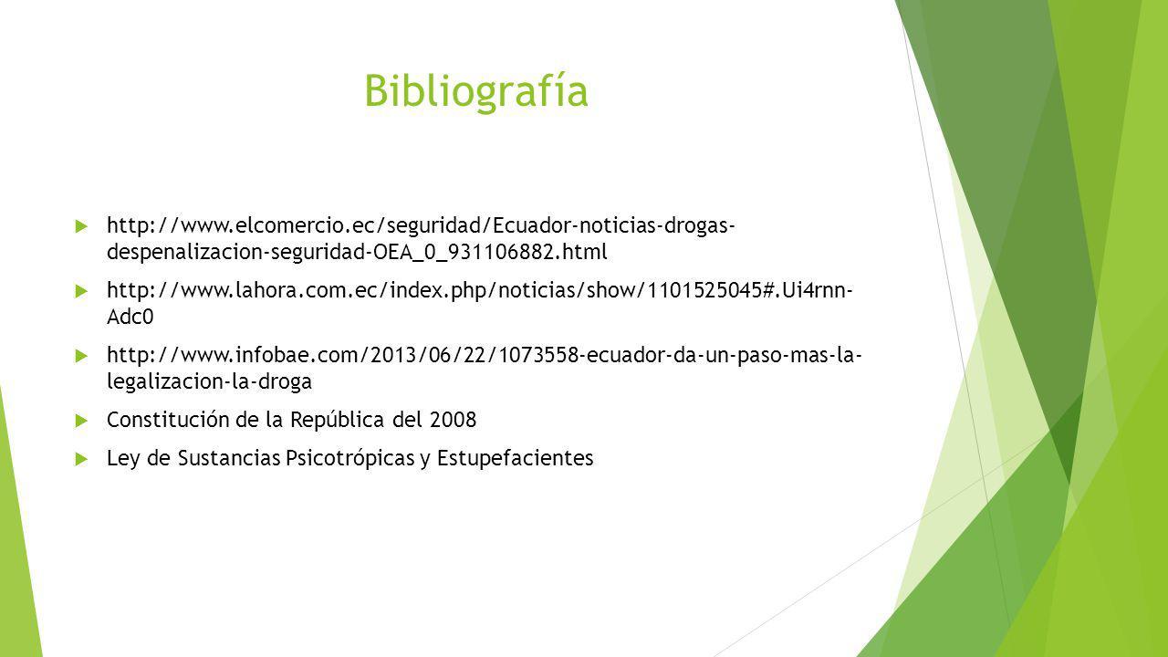 Bibliografía http://www.elcomercio.ec/seguridad/Ecuador-noticias-drogas- despenalizacion-seguridad-OEA_0_931106882.html.