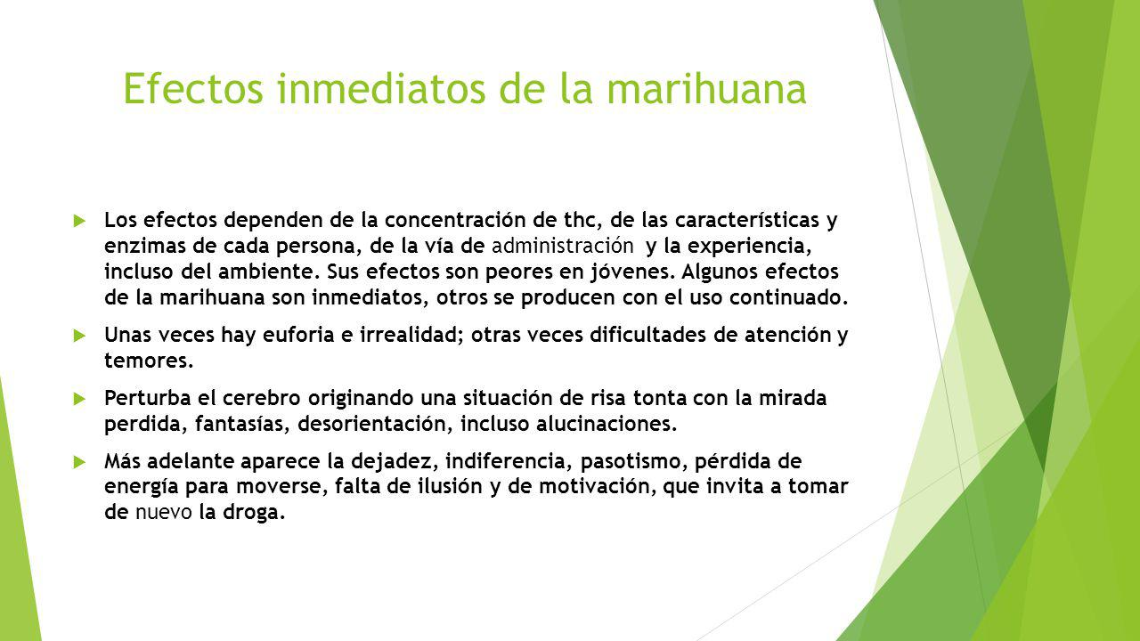 Efectos inmediatos de la marihuana