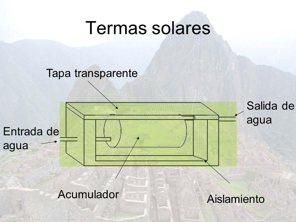 Termas solares Sin colector Tapa transparente Salida de agua