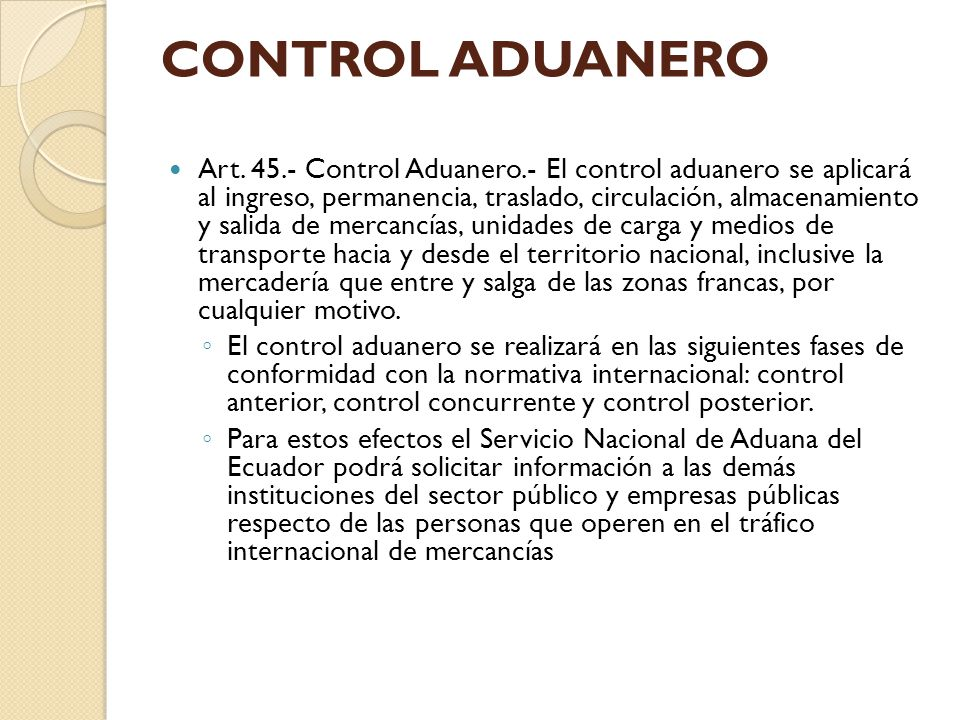 CONTROL ADUANERO