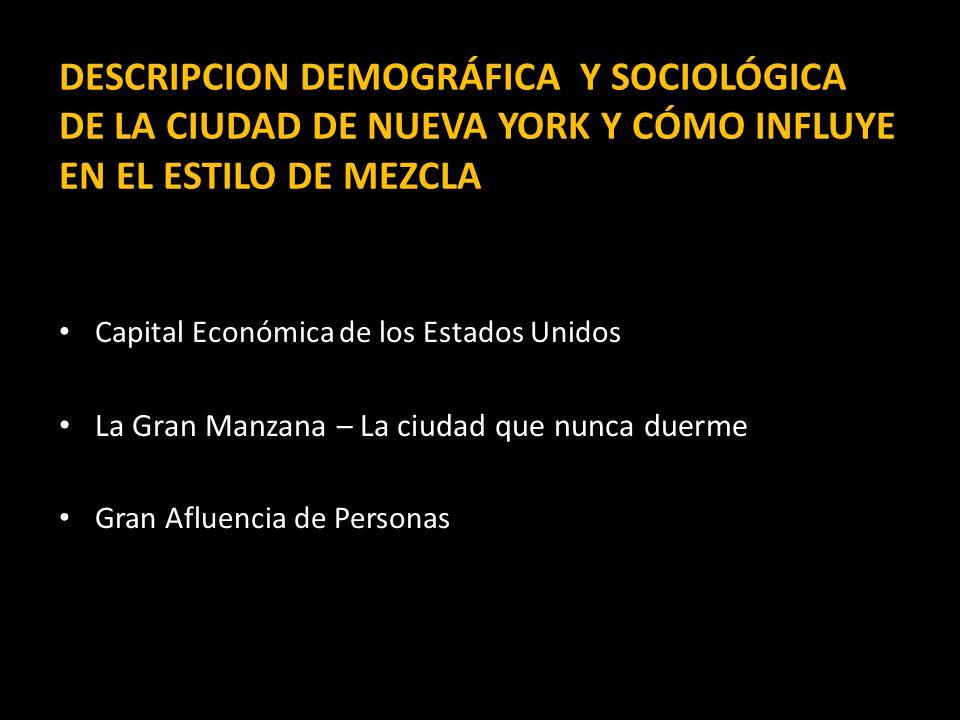 DESCRIPCION DEMOGRÁFICA Y SOCIOLÓGICA DE LA CIUDAD DE NUEVA YORK Y CÓMO INFLUYE EN EL ESTILO DE MEZCLA