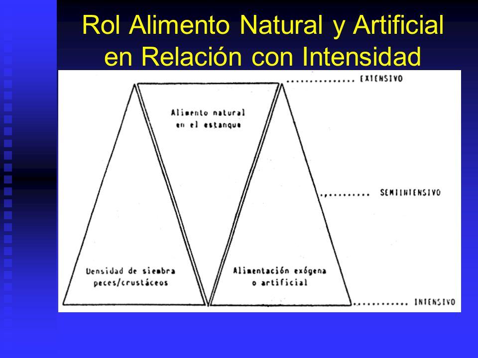 Rol Alimento Natural y Artificial en Relación con Intensidad