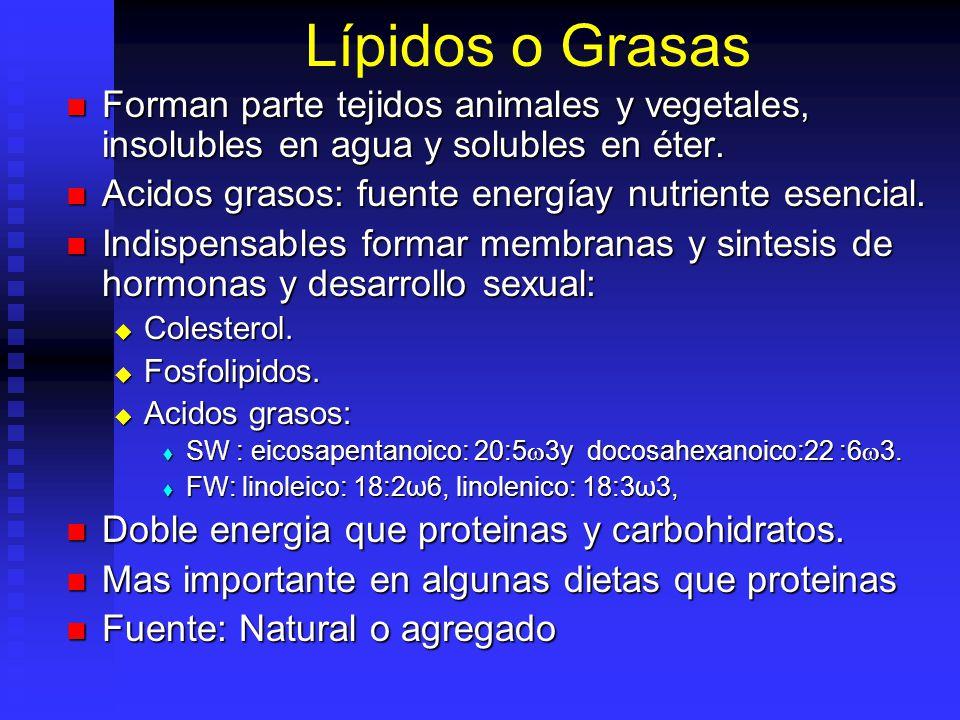 Lípidos o Grasas Forman parte tejidos animales y vegetales, insolubles en agua y solubles en éter.
