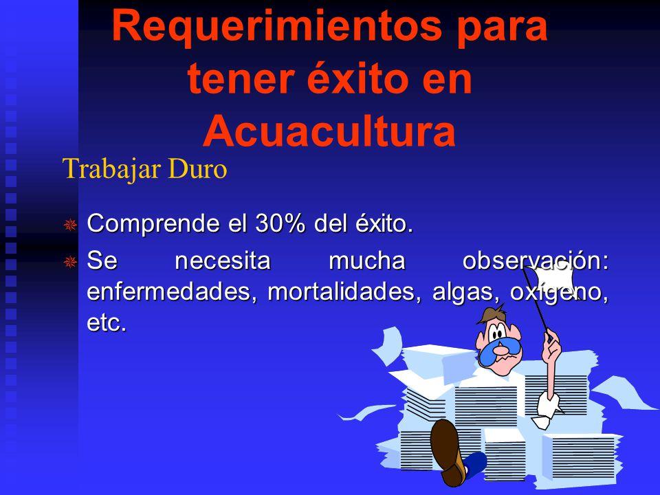 Requerimientos para tener éxito en Acuacultura