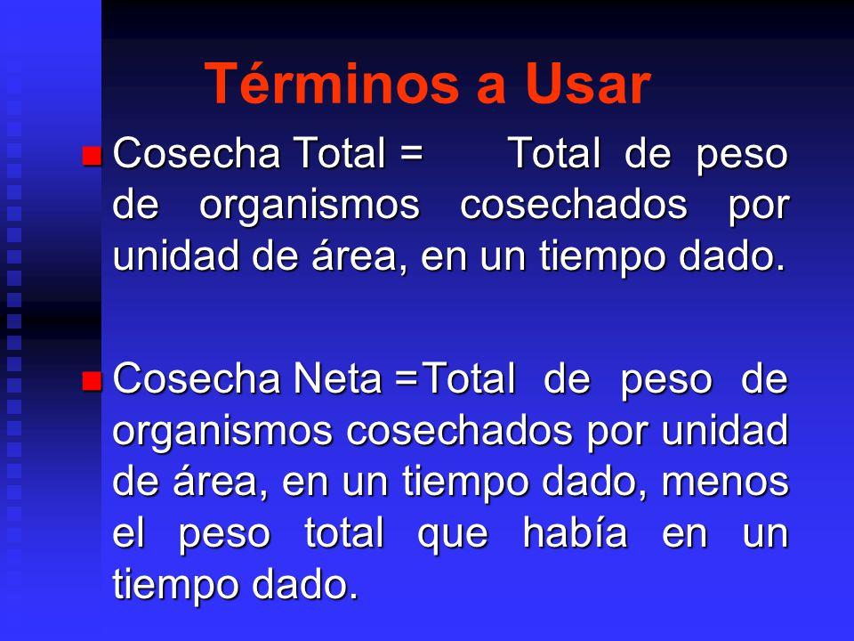 Términos a Usar Cosecha Total = Total de peso de organismos cosechados por unidad de área, en un tiempo dado.