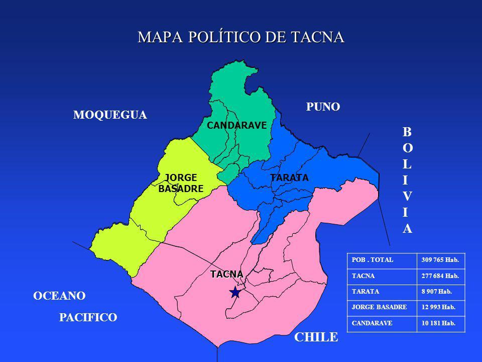 MAPA POLÍTICO DE TACNA BOLIVIA CHILE PUNO MOQUEGUA OCEANO PACIFICO