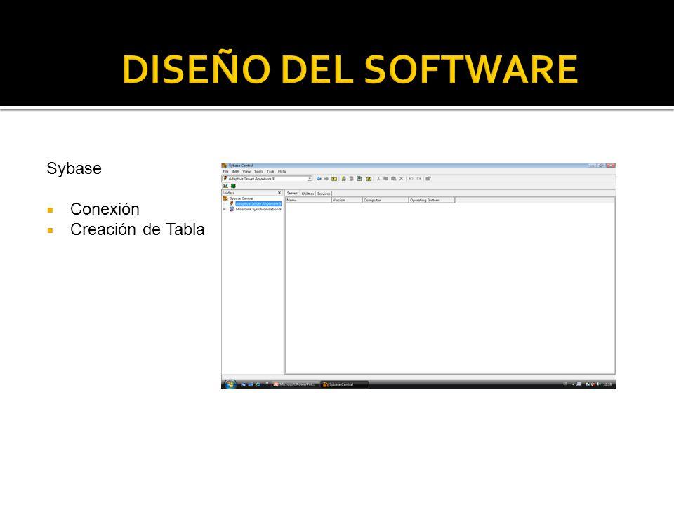 DISEÑO DEL SOFTWARE Sybase Conexión Creación de Tabla