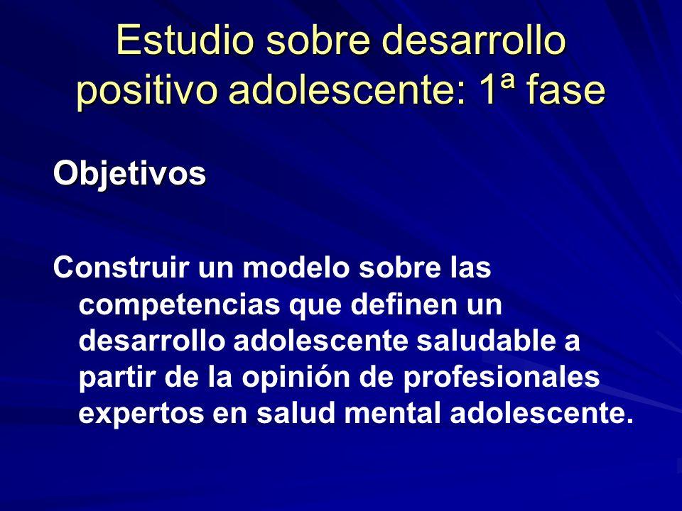 Estudio sobre desarrollo positivo adolescente: 1ª fase
