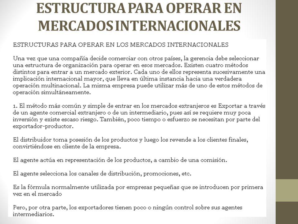ESTRUCTURA PARA OPERAR EN MERCADOS INTERNACIONALES