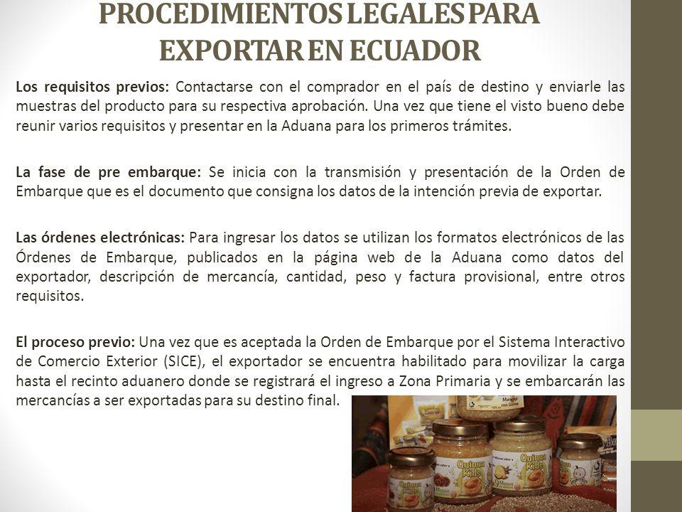 PROCEDIMIENTOS LEGALES PARA EXPORTAR EN ECUADOR