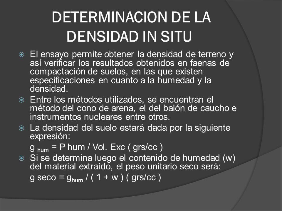 DETERMINACION DE LA DENSIDAD IN SITU