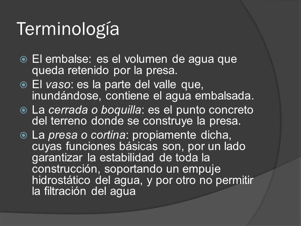 Terminología El embalse: es el volumen de agua que queda retenido por la presa.