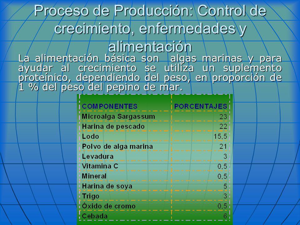 Proceso de Producción: Control de crecimiento, enfermedades y alimentación