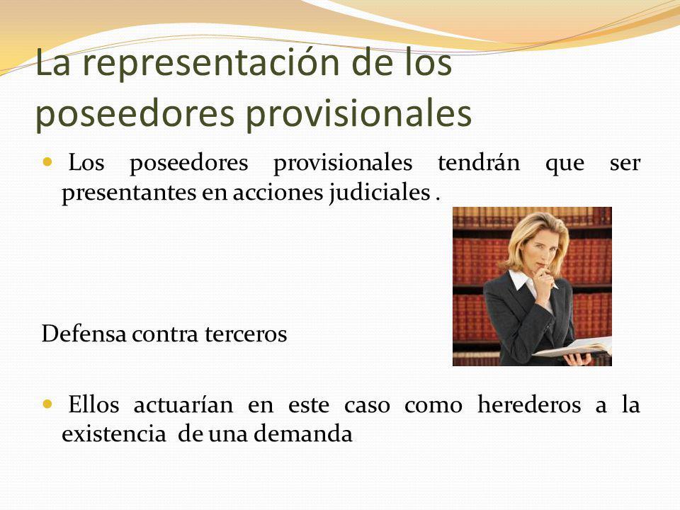 La representación de los poseedores provisionales