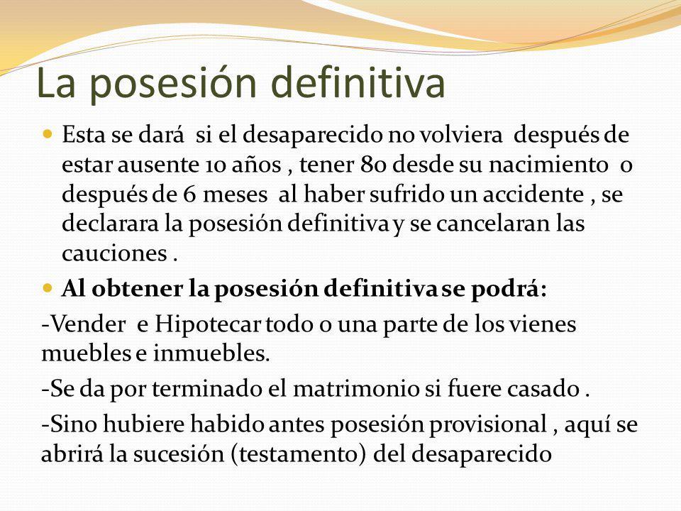La posesión definitiva