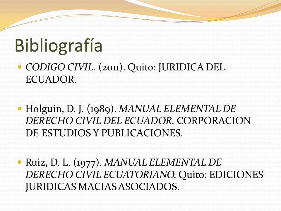 Bibliografía CODIGO CIVIL. (2011). Quito: JURIDICA DEL ECUADOR.