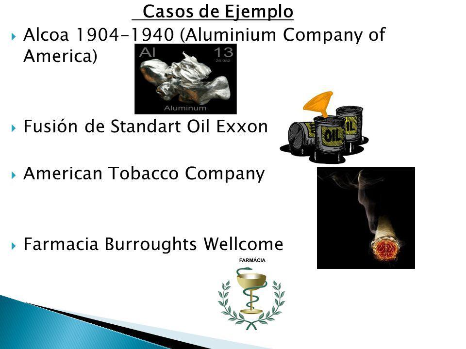 Casos de Ejemplo Alcoa 1904-1940 (Aluminium Company of America) Fusión de Standart Oil Exxon. American Tobacco Company.
