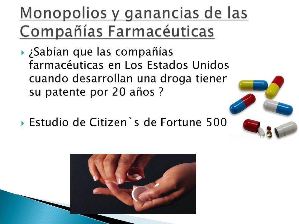 Monopolios y ganancias de las Compañías Farmacéuticas