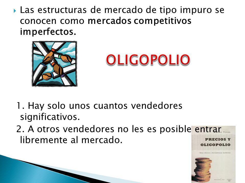 Las estructuras de mercado de tipo impuro se conocen como mercados competitivos imperfectos.