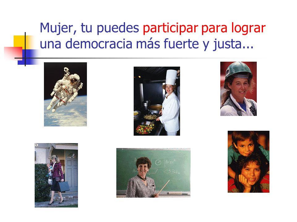 Mujer, tu puedes participar para lograr una democracia más fuerte y justa...