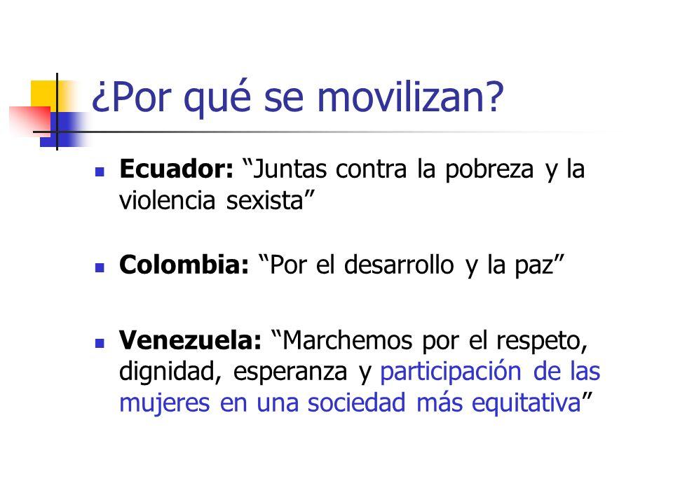 ¿Por qué se movilizan Ecuador: Juntas contra la pobreza y la violencia sexista Colombia: Por el desarrollo y la paz