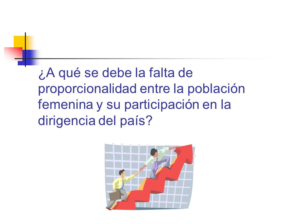 ¿A qué se debe la falta de proporcionalidad entre la población femenina y su participación en la dirigencia del país