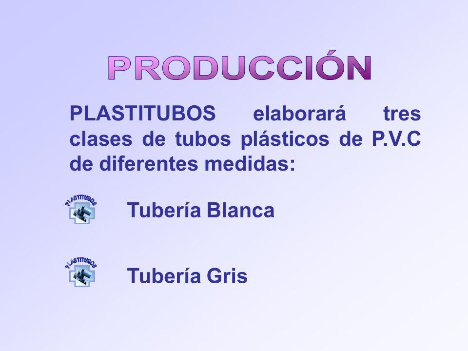 PRODUCCIÓN PLASTITUBOS elaborará tres clases de tubos plásticos de P.V.C de diferentes medidas: PLASTITUBOS.