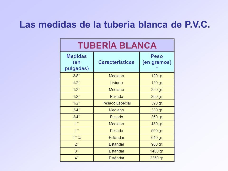 Las medidas de la tubería blanca de P.V.C.