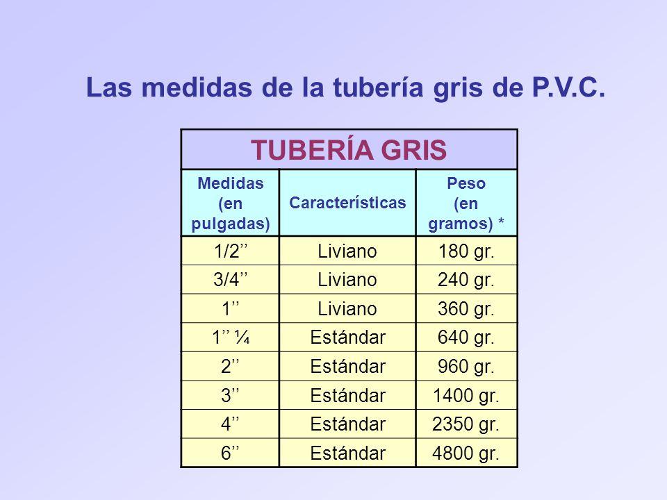 Las medidas de la tubería gris de P.V.C. TUBERÍA GRIS