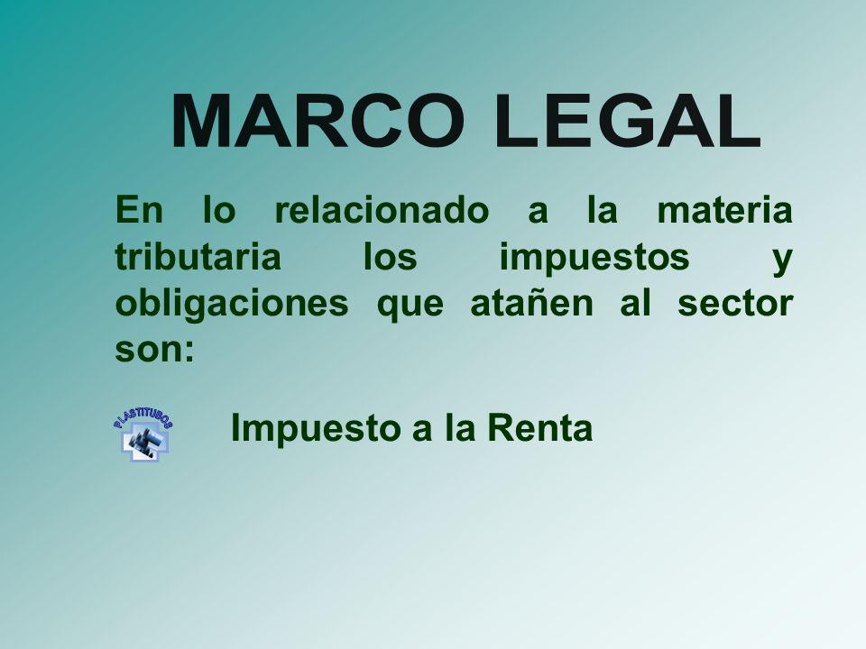 MARCO LEGAL En lo relacionado a la materia tributaria los impuestos y obligaciones que atañen al sector son: