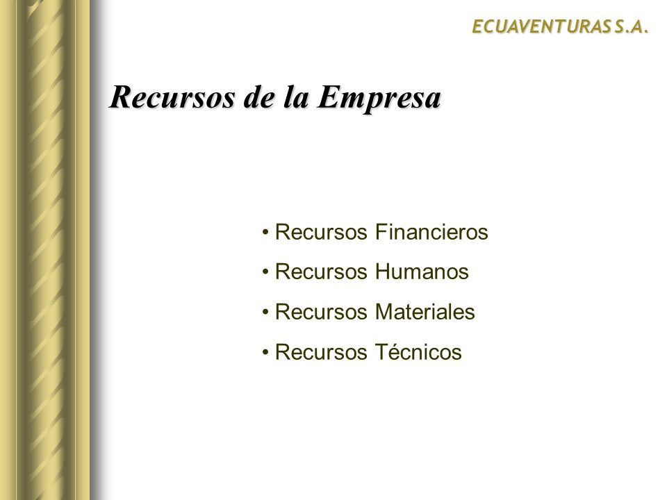 Recursos de la Empresa Recursos Financieros Recursos Humanos