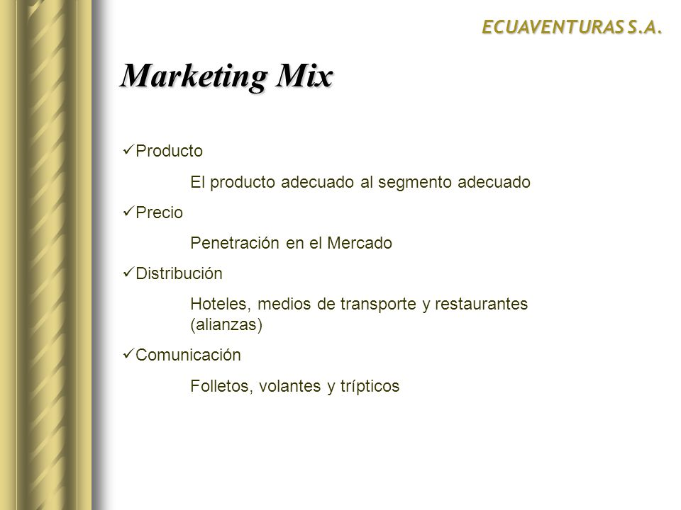 Marketing Mix ECUAVENTURAS S.A. Producto