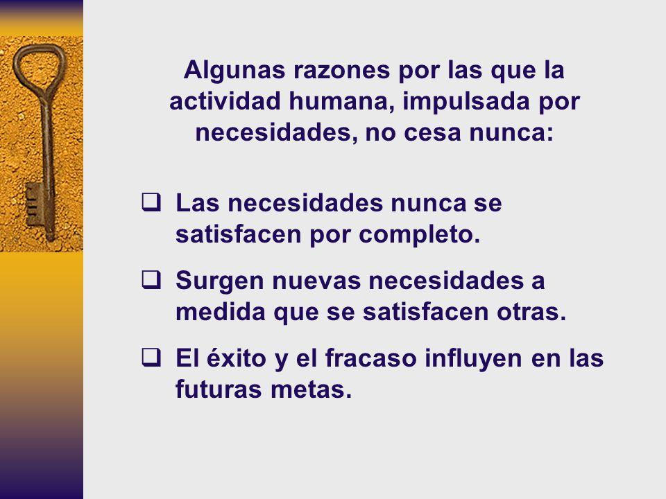 Algunas razones por las que la actividad humana, impulsada por necesidades, no cesa nunca: