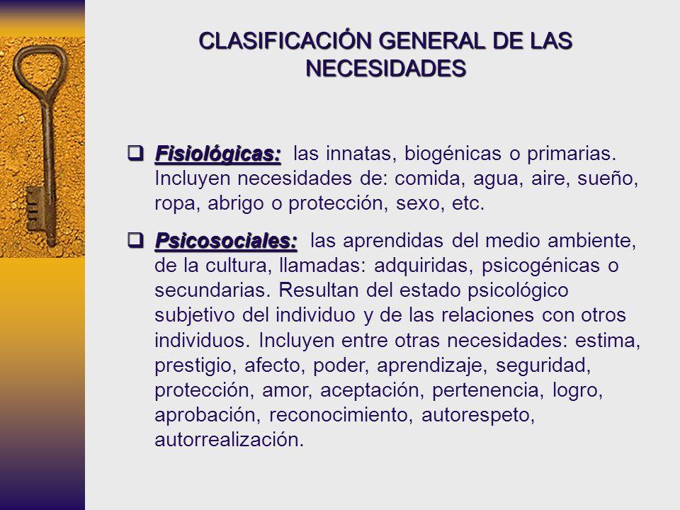 CLASIFICACIÓN GENERAL DE LAS NECESIDADES