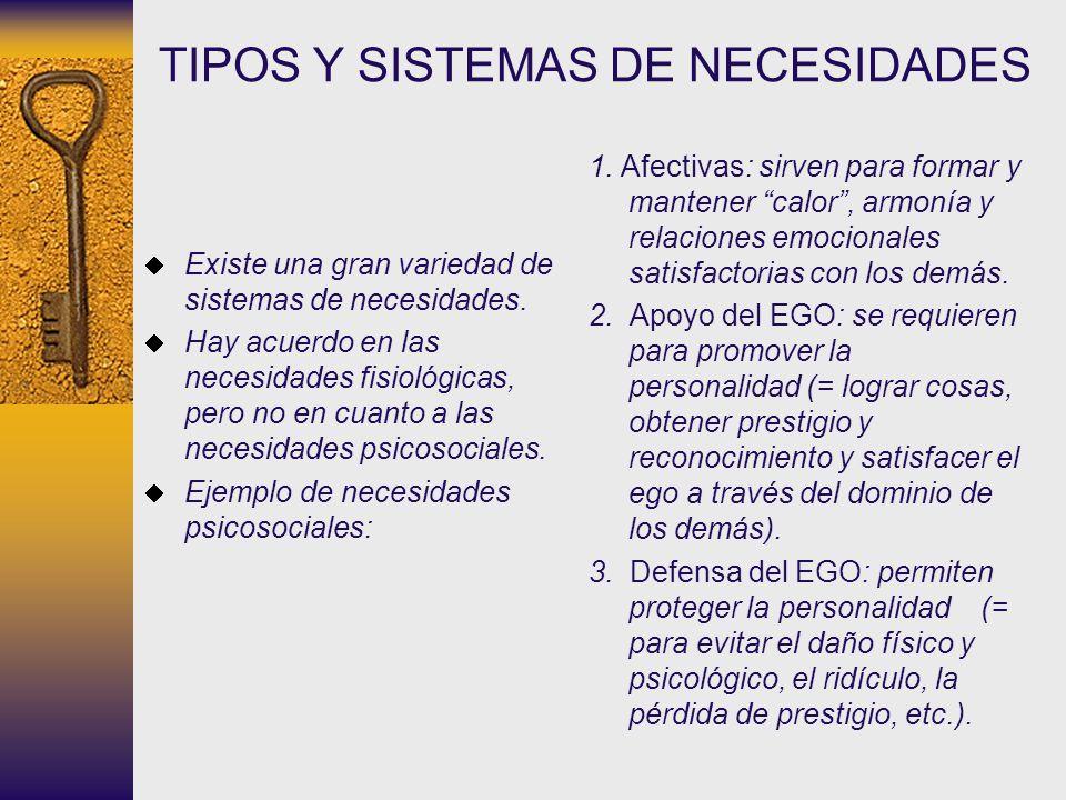 TIPOS Y SISTEMAS DE NECESIDADES