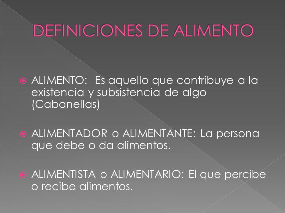 DEFINICIONES DE ALIMENTO