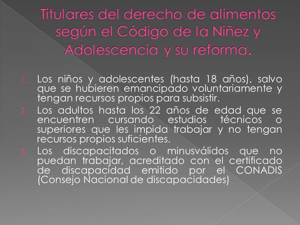 Titulares del derecho de alimentos según el Código de la Niñez y Adolescencia y su reforma.