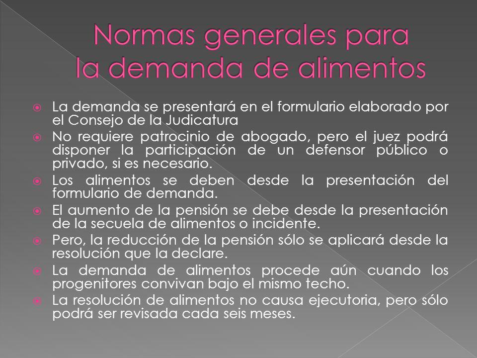 Normas generales para la demanda de alimentos