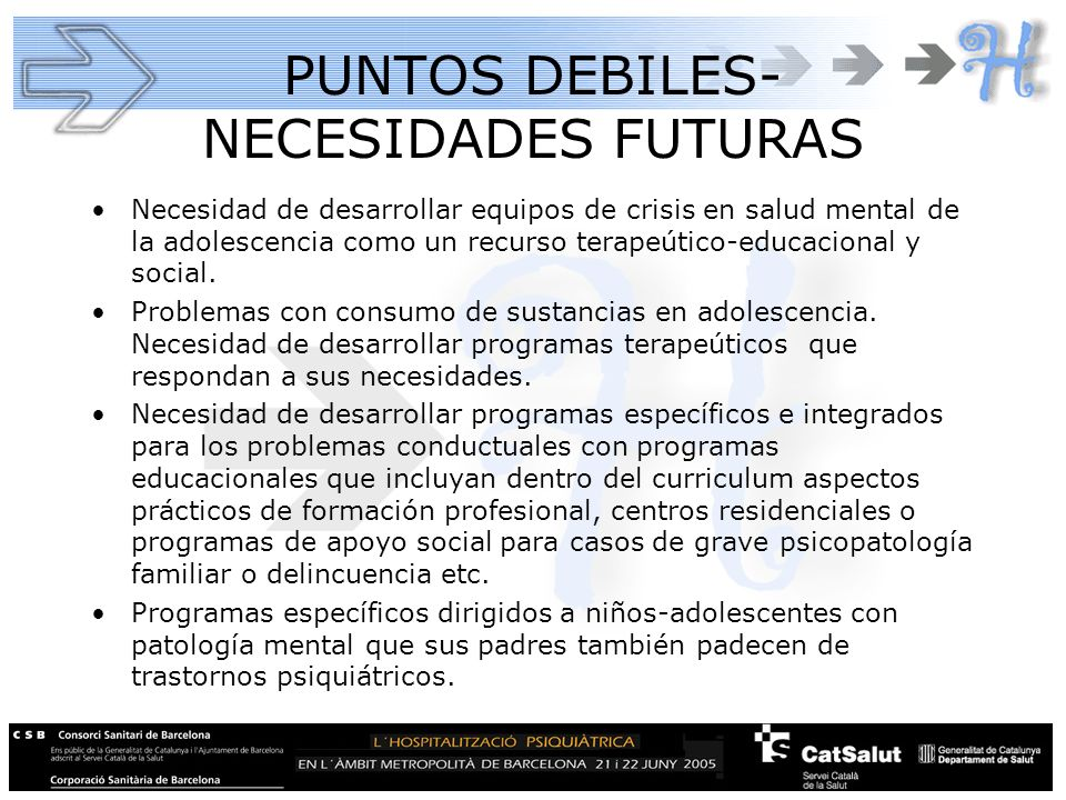 PUNTOS DEBILES-NECESIDADES FUTURAS