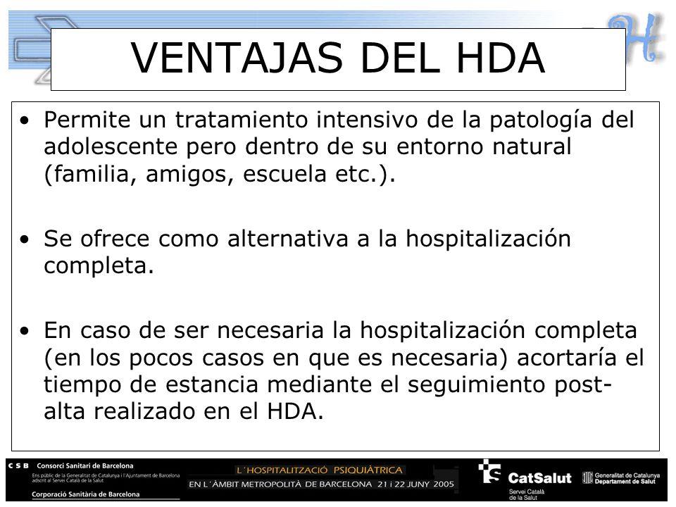 VENTAJAS DEL HDA Permite un tratamiento intensivo de la patología del adolescente pero dentro de su entorno natural (familia, amigos, escuela etc.).