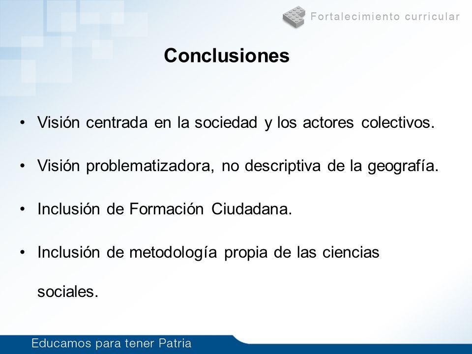 Conclusiones Visión centrada en la sociedad y los actores colectivos.