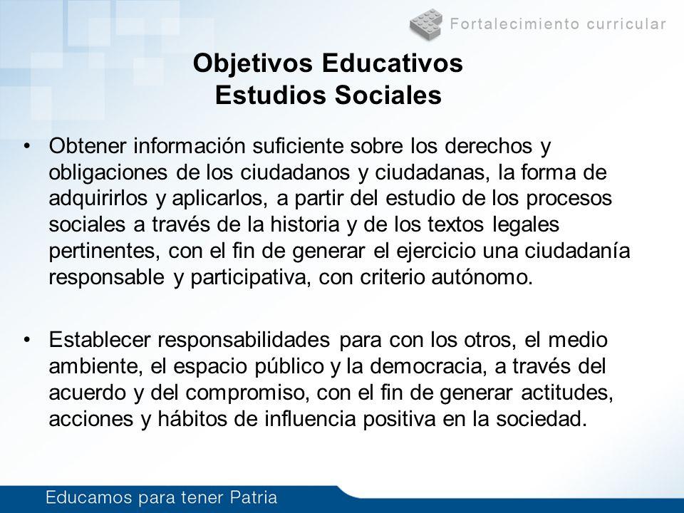 Objetivos Educativos Estudios Sociales