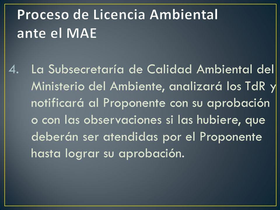 Proceso de Licencia Ambiental ante el MAE