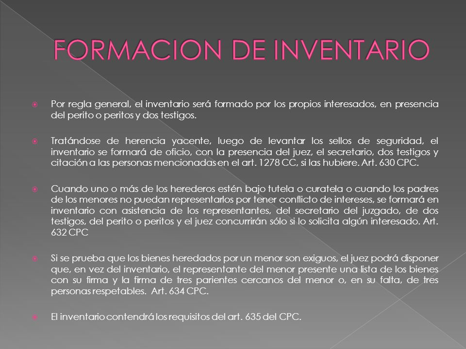 FORMACION DE INVENTARIO