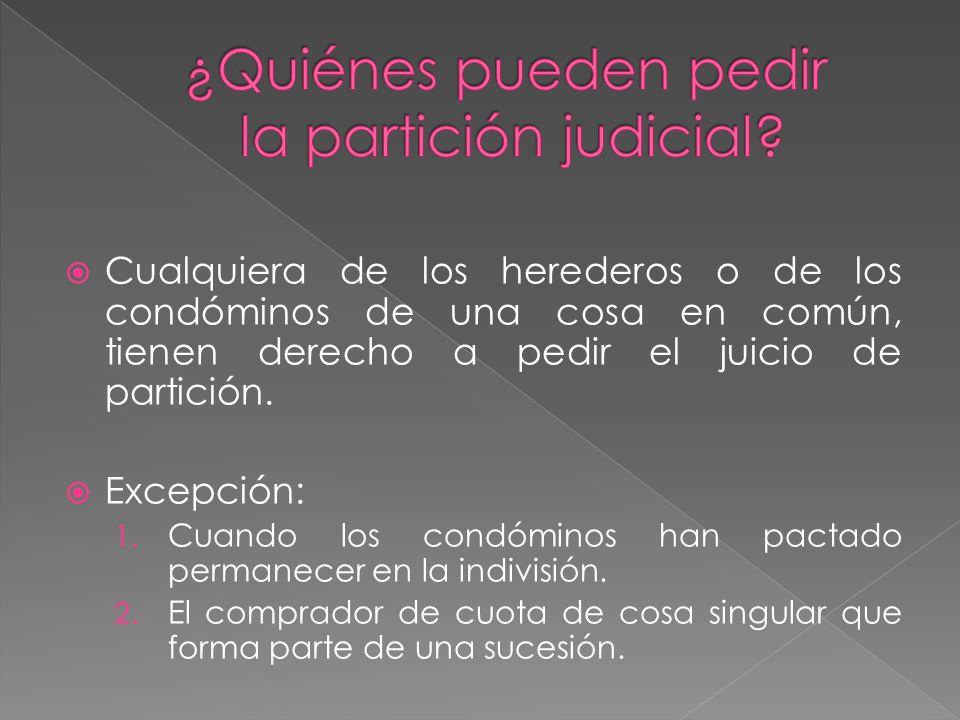 ¿Quiénes pueden pedir la partición judicial